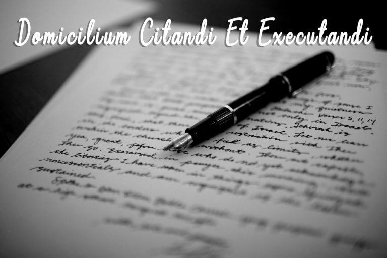 Domicilium Citandi Et Executandi